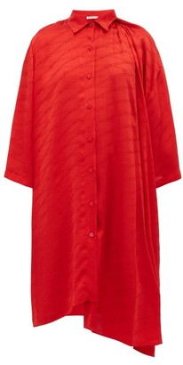 Balenciaga Monogram-jacquard Silk Shirtdress - Womens - Red