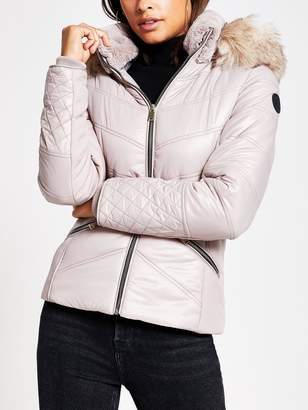 River Island Faux Fur Fitted Padded Jacket