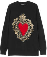 Dolce & Gabbana Intarsia Wool-blend Sweater - Black