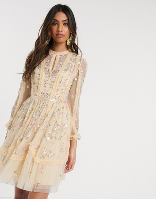 Needle & Thread mini dress with rose embroidery in lemon