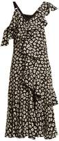 Proenza Schouler Floral-print Silk-crepe Midi Dress - Womens - Black Multi