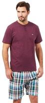 Mantaray Purple Checked Print Granddad T-shirt And Shorts Loungewear Set