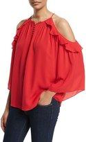 Rachel Zoe Alea Cold-Shoulder Ruffle Blouse, Pink