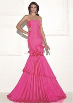 Tarik Ediz Ruffled Straight Across Neck Gown 92685