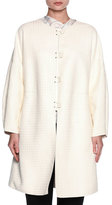 Giorgio Armani Leather Button-Front Caban Coat, Ivory