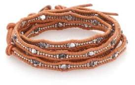 Chan Luu Crystal& Leather Multi-Row Beaded Wrap Bracelet