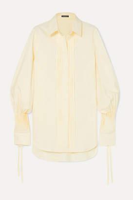 Ann Demeulemeester Pintucked Striped Cotton-poplin Shirt - Yellow