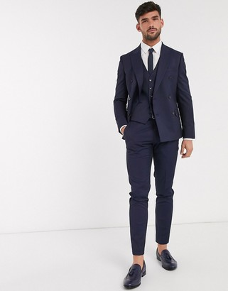 Moss Bros skinny fit suit pants in navy