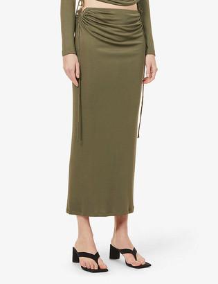 Dion Lee High-waist silk-jersey midi skirt