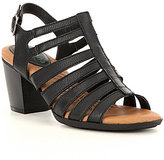 Montana Maddie Caged Leather Stacked Block Heel Sandal