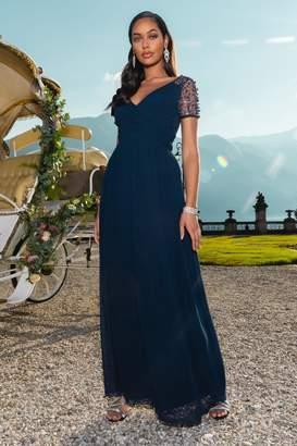 Quiz Navy Wrap Embellished Maxi Dress