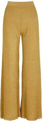 M Missoni Gold Wide-leg Metallic-knit Trousers