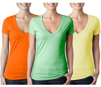 Clementine Apparel Women's Clementine Deep V Neck T-Shirt (Pack of 3)