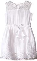 Us Angels Novelty Jacquard Drop Shoulder Illusion Dress w/ Belt & Full Skirt (Big Kids)
