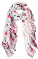 Hinge Women's Playful Poppies Lace Inset Scarf