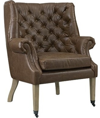 """Modway Chart 34.5"""" W Tufted Faux Leather Wingback Chair"""
