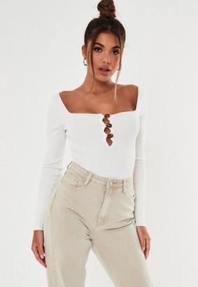 Missguided White Rib Button Down Knit Bodysuit