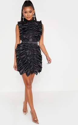 PrettyLittleThing Black High Neck Ruffle Detail Satin Bodycon Dress
