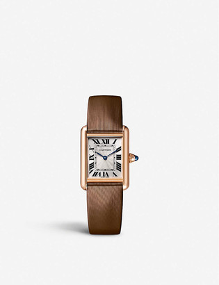 Cartier WGTA0011 Tank Louis 18ct rose-gold and leather watch