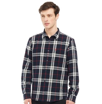 Jack Wills Mens Langworth Flannel Check Long Sleeve Shirt Navy/White