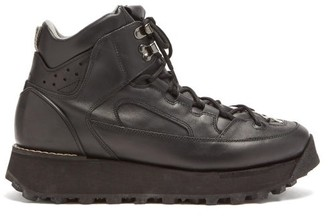Acne Studios Flatform Leather Hiking Boots - Black