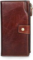 Yilen Large Capacity Leather Hasp Zipper Card Wallet Clutch Phone Holder Bag