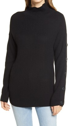 Caslon Button Detail Mock Neck Sweater