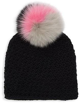 Surell Star Fox Fur-Trim Knit Beanie
