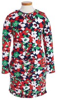 Oscar de la Renta Girl's Floral Print Long Sleeve Dress