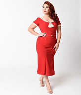 Stop Staring Exclusive Plus Size 1930s Style Red & Ivory Railene Dress