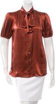 Dolce & Gabbana Short Sleeve Silk Button-Up Top w/ Tags