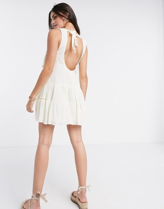 ASOS DESIGN tiered mini smock sundress with open back