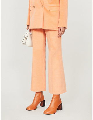 Acne Studios Cropped high-rise corduroy trousers