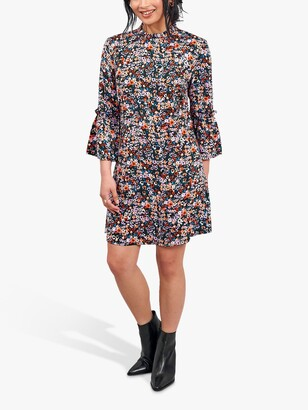 Little Mistress Ditsy Floral Frill Collar Shift Dress, Black/Multi