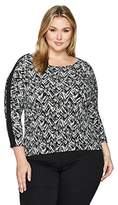 Calvin Klein Women's Plus Size Print Dolman Top with Piping and Zips