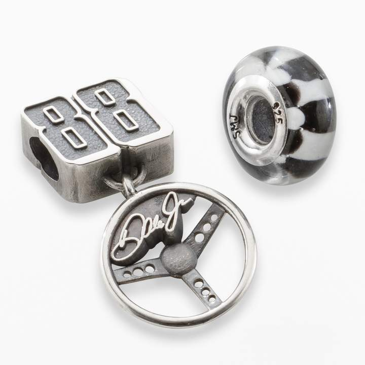 """Insignia Collection NASCAR Dale Earnhardt Jr. Sterling Silver """"88"""" Charm & Checkered Flag Bead Set"""