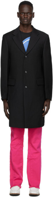 we11done Black Three-Button Mid-Length Coat