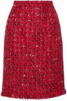 Oscar de la Renta Wool And Cotton-Blend Bouclé-Tweed Skirt