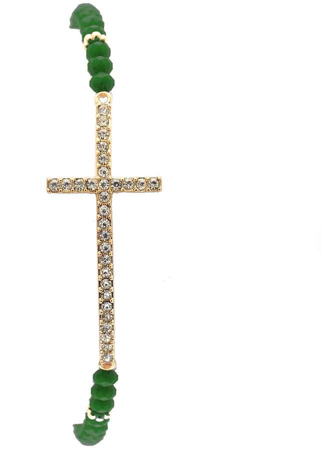 Hunter SpinningDaisy Gold Plated Devout Crystal Cross Elastic Bracelet Green Bead)