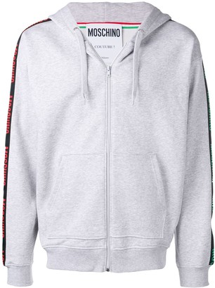 Moschino Branded Striped Sleeve Hoodie