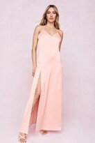Thumbnail for your product : Nasty Gal Womens Strappy Satin Slit Maxi Dress - Orange - 6