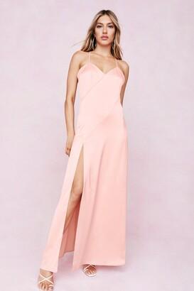 Nasty Gal Womens Strappy Satin Slit Maxi Dress - Orange - 6