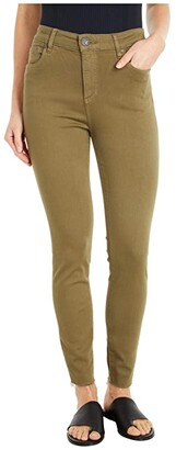 KUT from the Kloth Donna High-Rise Ankle Skinny with Raw Hem in Olive (Olive) Women's Jeans