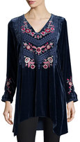 Johnny Was Laura Embroidered Velvet Tunic