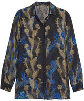 Etro Printed Fil Coupé Silk-blend Shirt - Black