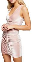 Miss Selfridge Velvet Rouched Mini Dress, Pink
