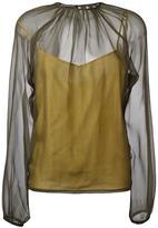 Rochas bishop sleeve sheer blouse