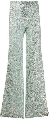 Halpern high-rise flared sequin trousers