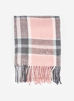Dorothy Perkins Womens Pink Charcoal Check Scarf, Pink