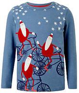John Lewis Boys' Christmas Cycling Santa T-Shirt, Blue